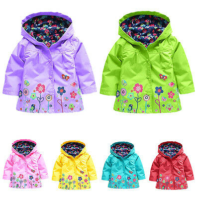 Baby Children Kids Girls Flowers Waterproof Hooded Coat Jacket Outwear Raincoat