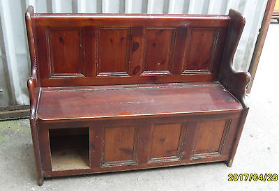 Vintage Church Chapel Pew Settle, Bench, Solid Pine, under Seat Storage, refpm