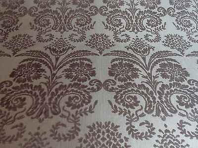 """DESIGNERS GUILD """"OMBRIONE"""" 12 metres CUT VELVET upholstery fabric BIRCH TAUPE"""