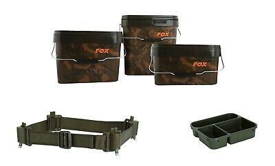Fox Heavy Duty Camo Square Stackable Bait Bucket Robust Carp Fishing 5L 10L 17L