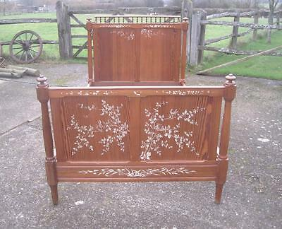 Delightful Antique French Standard Large Single Bed With Original Decoration
