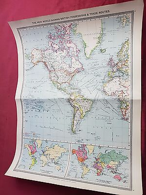 """Antique Map 1906..""""The New World Showing British Possessions & Trade Routes"""".."""