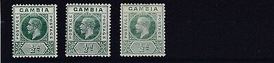 Gambia  1912 - 22        S G  86 - 86C   3 X 1/2D   Values   Mh