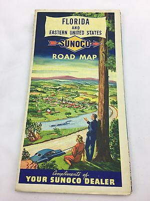 Vintage Sunoco Dealer Florida and Eastern United States Road map