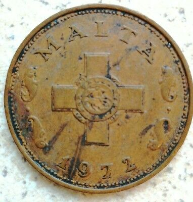 Malta Large One Cent Coin - 1972 - Maltese Cross - Maltese 1 Cent - Free Postage