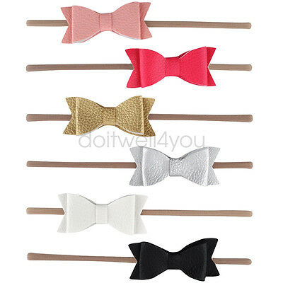 5.5 Inch Leather Hair Bows Headband With Elastic Nylon Hair Band For Baby Girls
