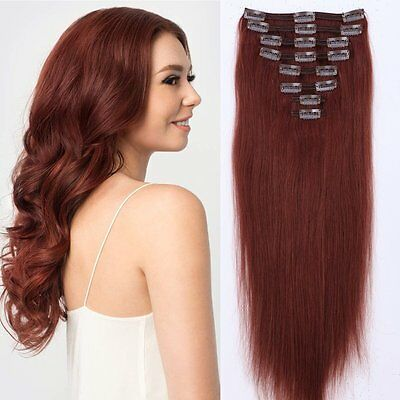 Clip in 100% Real Remy Human Hair Extensions Silky Straight Full Head 22''-24''