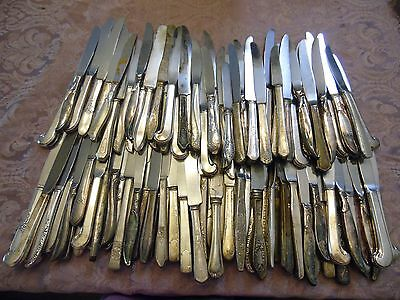 Lot#1 Vintage Silver Plated Flatware Hollow Handle Dinner Knife Craft Lot Of 100