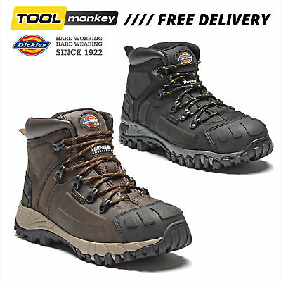 DICKIES MEDWAY | Waterproof Safety Boots | STEEL TOE | Leather Black/Brown| 7-12