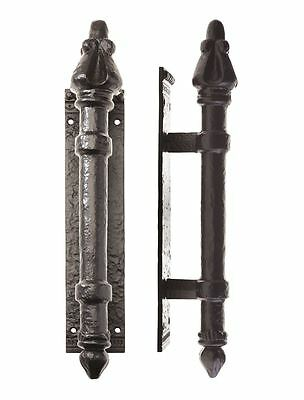Deluxe Black Iron Large Medieval Style Door Pull Handle on Backplate