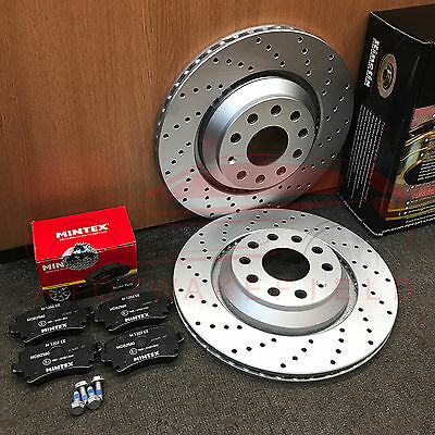 FOR AUDI RS3 REAR PERFORMANCE KINETIX DRILLED BRAKE DISCS MINTEX PADS 310mm
