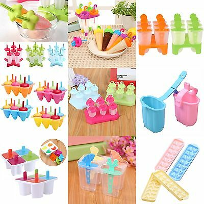 4/6/8 Cell Frozen Ice Cream Pop Mold Popsicle Maker Lolly Mould Tray Pan Kitchen