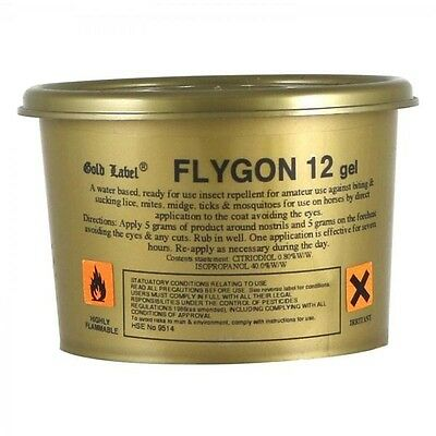 GOLD LABEL FLYGON 12 GEL (250g) horse pony insect repellent equine quick GLD0222