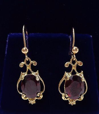 Victorian Inspired 9ct Yellow Gold Garnet Drop Earrings