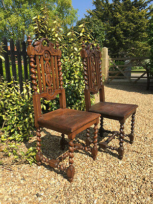 Pair of Carved Antique Oak Hall or Dining Chairs