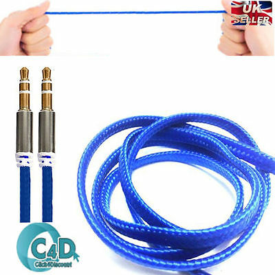 2Pcs 3.5mm Jack AUX Cable Stereo Plug Braided Male Audio Auxiliary Lead 1m Blue