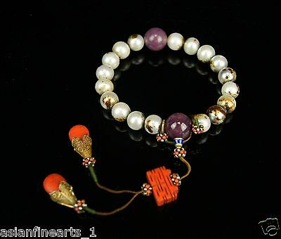 Old Natural Pearl Bracelet Gem and Coral Charms Chinese Antique Jewelry 388