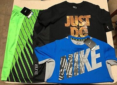 Lot Of 3 Nike Boys Shorts/Shirts Elite Active Dri Fit Training (Size Large)