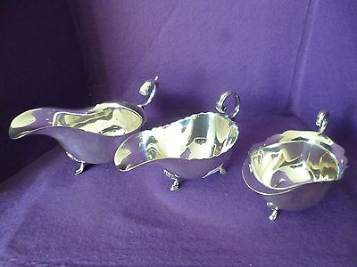 May Sale - Three Individual Vintage Silver Plated Sauce Boat All On Three Feet