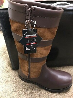CHILDRENS BROWN COUNTRY BOOTS size 2 waterproof kids country boots