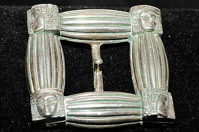 Art Deco Repro Hand Cast Sterling Silver Square with Faces Belt Buckle One of