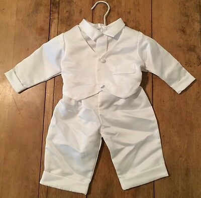 Christening Outfit Baby Boy 2 Piece Suit White Size 6-9 Months