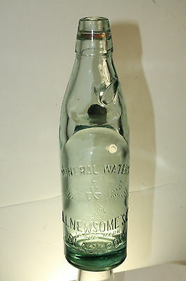 E.l.newsome's  Blackpool Codd Neck Mineral Water Green Bottle W/cobalt Marble