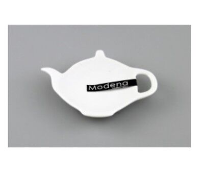 White Porcelain Kitchen Tea Bag Holder Tray Tea Pot Shaped Tea Spoon Rest