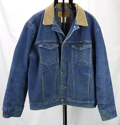 Vtg Wrangler Western Denim Trucker Jacket Fleece Blanket Lined Mens 50 2XL 3XL