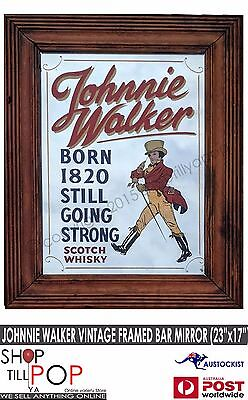 "Johnnie Walker Vintage Bar Mirror 1960's Exc' Co' 23x17"" Scotland man cave"