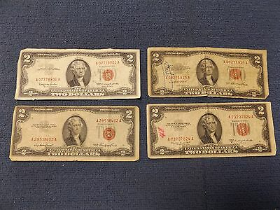 Lot of 4 Two Dollar Federal Reserve Red Seal Notes