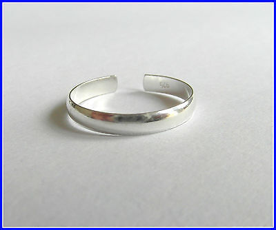 Unisex Trendy Cool Silver Plated Adjustable Toe Ring Plain Band  UK SELLER
