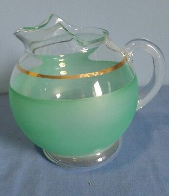 Vintage Glass Gold Rim/Frosted Green Water/Juice Pitcher