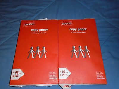 2 Reams of Staples 8 1/2 x 14 Legal Size Copy Paper Packs 1000 Sheets