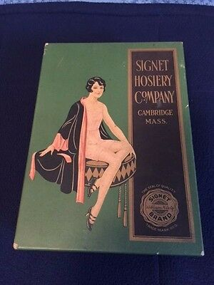 Antique Art Deco Signet Hosiery Company Garter Stocking Empty Box Cambridge Mass