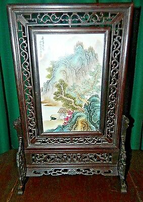 Vintage Chinese Hand Carved Hand Painted Rosewood And Porcelain Table Screen