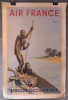 Afrique Occidentale Air France affiche poster lithographie Brenet 1952