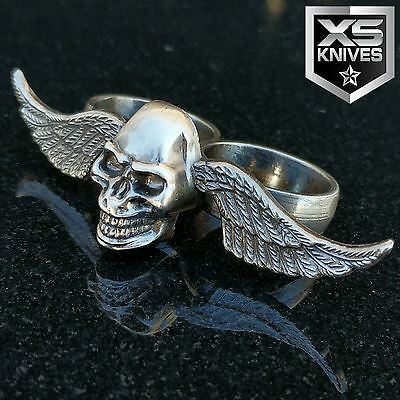 """3"""" X 1.5"""" Fantasy SILVER Winged Skull Stainless Steel Two-Finger Ring"""