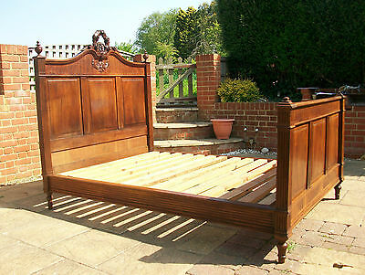 19th Century VICTORIAN FRENCH OAK CARVED MOTIF LOUIS XVI STYLE DOUBLE BED & BASE