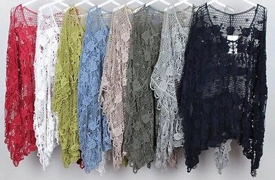 Wholesale Joblot new Ladies Rose Crochet Italian Lagenlook Layering top 6pcs mix