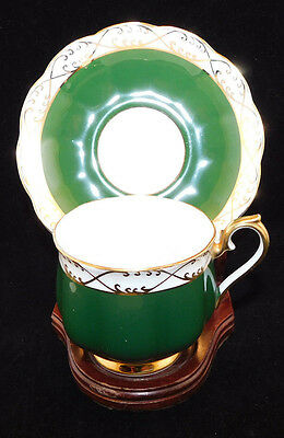 Royal Albert Matte Green and Gold Cup and Saucer