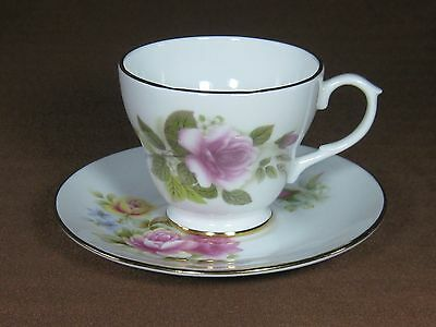 Crown Trent Bone China Cup and Saucer Lavender and Yellow Roses Gold Trim