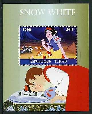 Chad 2016 CTO Snow White 1v M/S Disney Cartoons Stamps