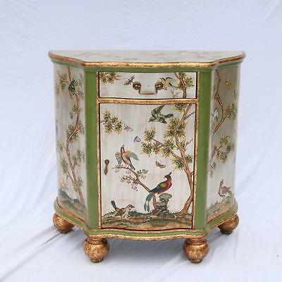 Silvered Painted Chest Gilt Bun Feet Painted Birds, Cabinet Art Deco Console