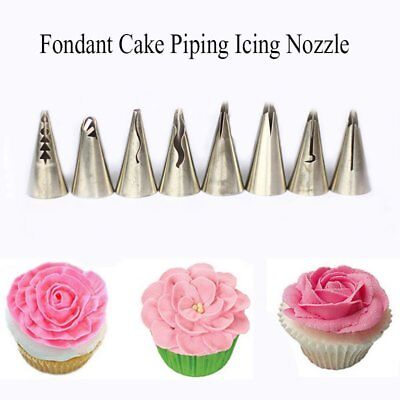 8Pcs Large Open Star Icing Piping Nozzle Cake Decorating Pastry Tips Tool Newly