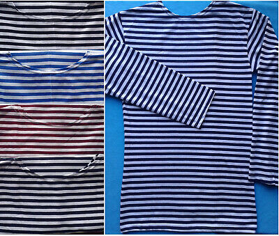 Telnyashka Russian Military Navy Blue Black Striped Summer T-Shirt  Long Sleeve