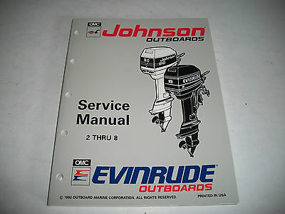1993 Johnson Evinrude 2 Thru 8 Outboard Service Shop Manual #508281 Clean