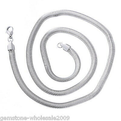 1PC Stainless Steel Oval Snake Chain Necklace Silver Tone 6MMX 50.9cm GW