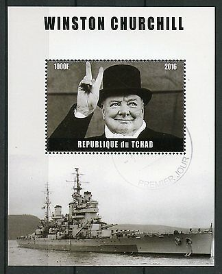 Chad 2016 CTO Winston Churchill 1v M/S Politicians World Leaders Stamps