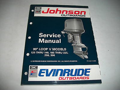 1992 Johnson Evinrude 120-140 185-225 250 300 Outboard Service Shop Manual Clean